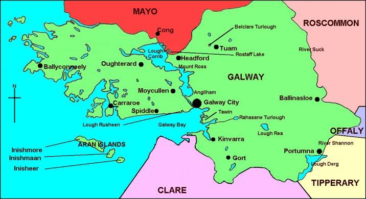 Map Of County Galway Ireland.Birdwatch Galway Birding Sites In Co Galway